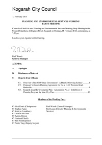 Agenda for Working Party 16 Feb 2015