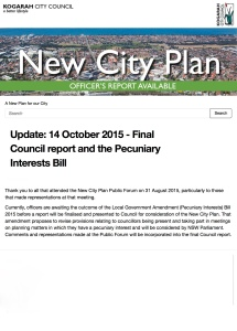 Update: 14 October 2015 - Final Council report and the Pecuniary Interests Bill | A New Plan for our