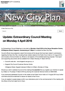 Update: Extraordinary Council Meeting on Monday 4 April 2016 | A New Plan for our City | Kogarah New
